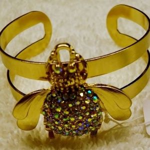 Amazon Collection Jewelry - Amazon Collection Gold/Crystal Bee Cuff Bracelet